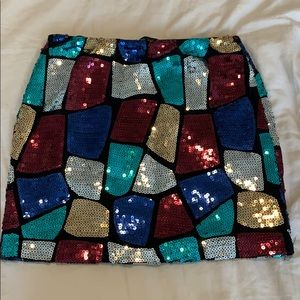 Black skirt with colorful sequins